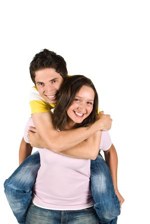 háton: A young boy getting a piggyback ride from a teen girl and having fun together isolated on white background