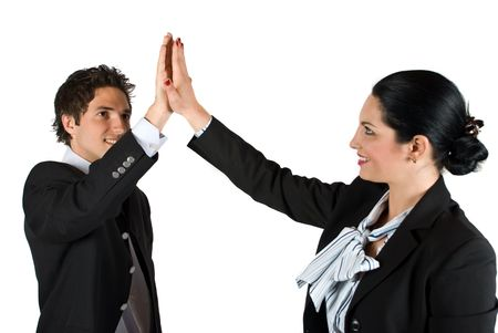 joy of giving: Businesspeople man and woman giving each other high five for successful bussiness isolated on white background