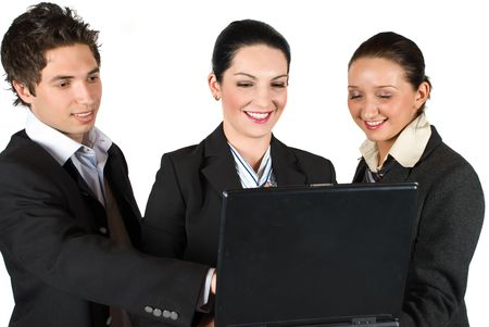 Business team using a laptop ,businessman pointing and they laughing together photo