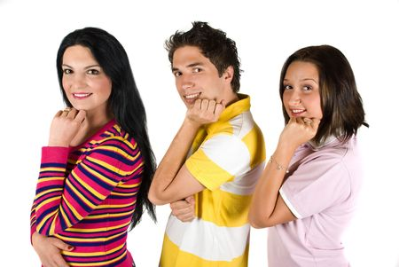 Happy three people standing in a line profile with hands at chin ,smiling and looking at camera  isolated on white background photo
