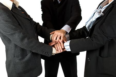 Business people  body parts with hands on top of each other ,concept of unity in business Stock Photo - 4802568