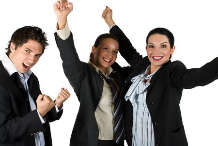 won: Successful group of people raising hands and celebrate them success in business,they scream and laugh because of happiness Stock Photo