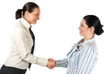 necktie: Two young woman give handshake concept of successful teamwork or congratulating colleague Stock Photo