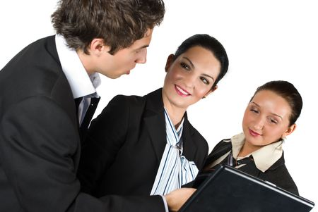 Collective of business people have a meeting and businessman explaining something to her colleagues  females on laptop and smiling together Stock Photo - 4802582