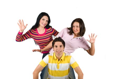 Three young playful friends standing back to back and showing smiling faces,concept of successful friendship isolated on white background photo