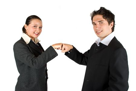 Two business people ,man and woman have a deal or a confrontation and gesturing with hands photo