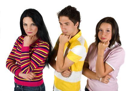 Group of three friends standing in a line with hand to chin and looking unhappy Stock Photo - 4837518