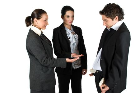 Two young business woman standing with hands open and asking for money and the man show empty pants  pockets:No money here!,concept of crisis photo