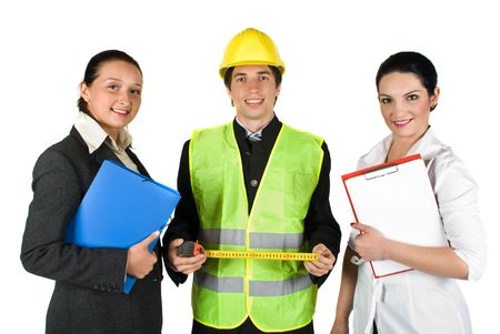 Group of three happy workers with different careers isolated on white background