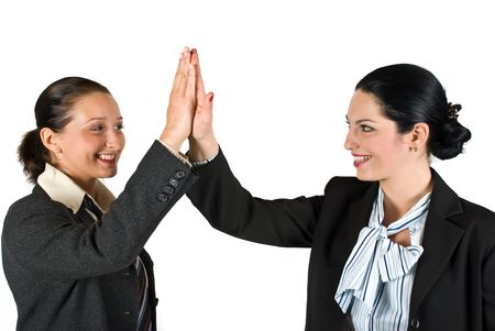 Two excited businesswoman team  give high five concept of successful business isolated on white background Stock Photo