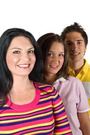 Group of three happy friends ,selective focus on middle young woman photo