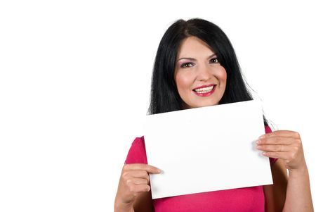 Beauty young woman holding a blank sign isolated on white background,copy space in right part of image also photo
