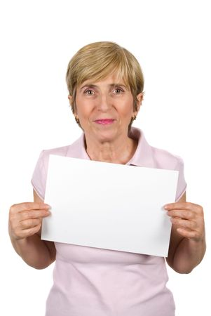 Mature woman holding a blank sign isolated on white background photo