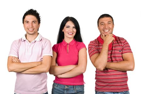 facing the camera: Three happy friends wearing different pink color  t-shirts and standing in a row  with hands crossed facing camera isolated on white background