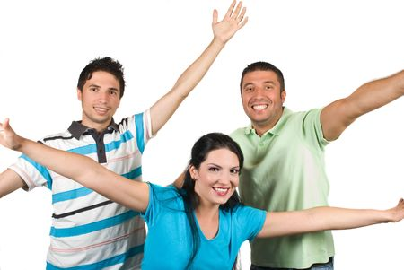 Happy friends with hands up having fun and laughing isolated on white background photo