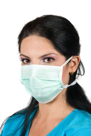 protective wear: Portrait of young woman with protective mask looking at you isolated on white background