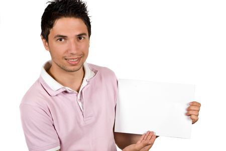 Youth male presenting a blank page and looking at you isolated on white background photo