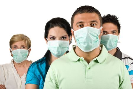 Portrait of few people group standing straight and wearing protective mask trying to protect them from flu epideminology photo