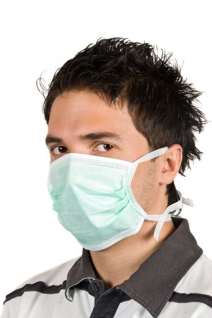 Cool young man student  wearing a protective mask  photo