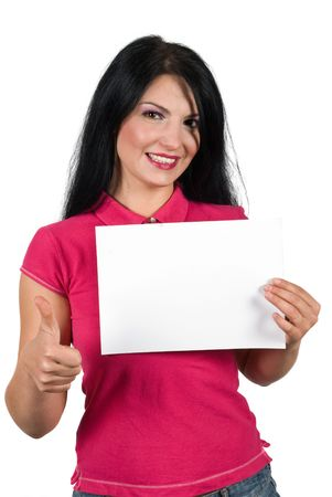Beauty smiling woman giving thumb up and holding a blank sign isolated on white background photo