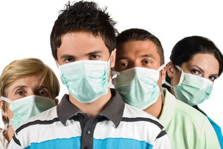 Group of three people young and mature wearing protective mask ,young man in front of image isolated on white background