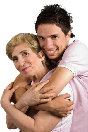 blonde mom: Portrait of happy mother and son bonding isolated on white background Stock Photo