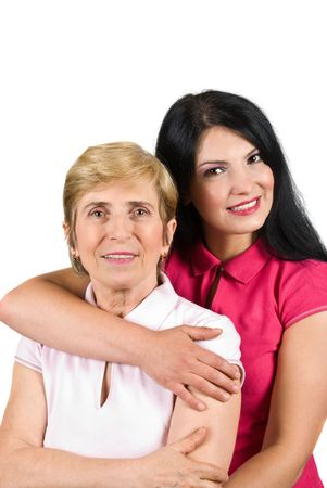 Portrait of beautiful mother and daughter hugging and smiling for you isolated on white background photo
