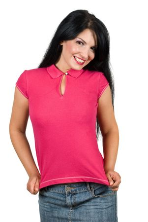 Cute young woman presenting her blank pink t-shirt,you can add your message text tshirt isolated on white background photo