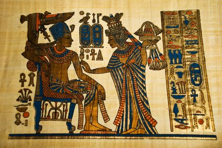 king chair: Ancient Egyptian painting on papyrus ,originally brought from Egypt