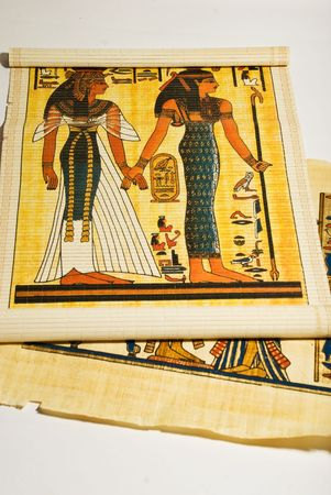 Different egyptian papyrus or parchment showing traditional life of old Egypt photo