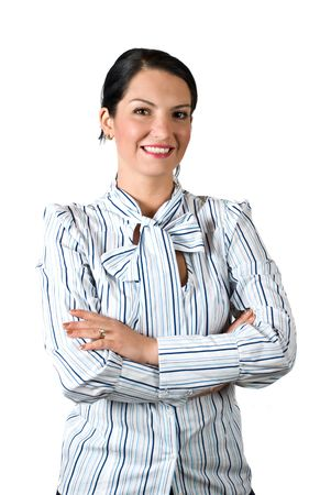 Confident business young woman standing with hands crossed and smiling isolated on white background photo