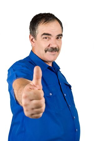 Mature business man with mustache giving thumbs up isolated on white background photo