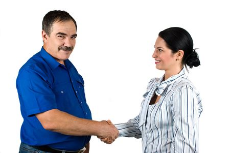 handshakes: Two business people mature businessman and young businesswoman  shaking hands and make a deal isolated on white background Stock Photo
