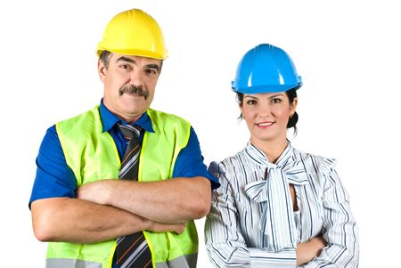 executive helmet: Architects team : mature architect man and young woman standing with hands crossed and smiling in front of image isolated on white background