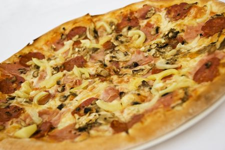 Pizza with ham,cheese and mushrooms on white background Stock Photo - 5228067