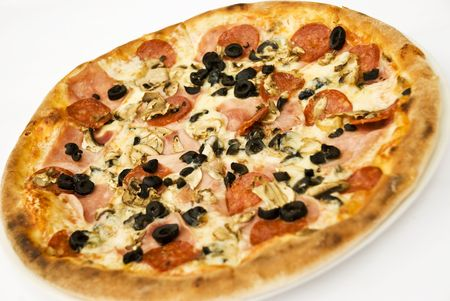 angle views: Whole pizza with ham,salami,cheese,mushroom and black olive on white background