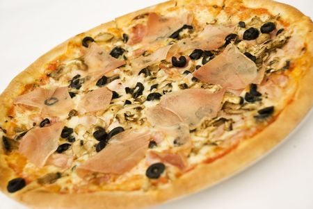 Italian pizza with ham,mushroom and black olive on white background Stock Photo - 5228064