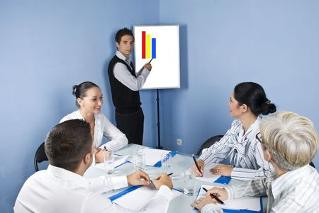 Group of business people sitting around a table at office and having a meeting discussion while a young businessman make a presentation on a chart photo
