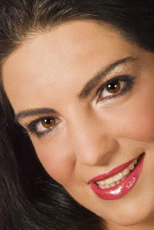 Beautiful portrait of woman face with glamorous make up eyes and luscious pink lipstick smiling with teeth and looking at you Stock Photo - 5440512