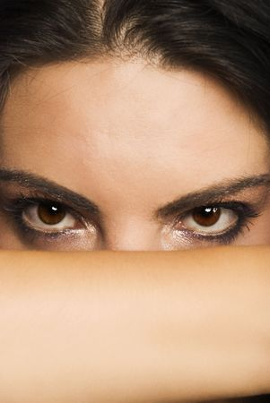 Portrait of beautiful woman  who cover her face with hand and let to see only  eyes with make up photo