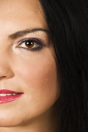 Close up of half face of beauty young woman with make up eye and black eyebrow Stock Photo - 5440514
