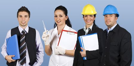 Workers with different careers smiling and standing in a line  doctor female holding clipboard,business man with a blue folders,architect woman with plans and engineer man with hard hat on blue background photo