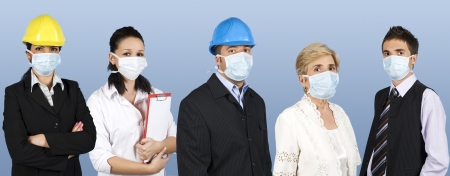 swine flu: Group of different people jobs:doctor,architects or engineers,business man or retired woman standing in a line straight and wearing protective mask trying to protect them from flu epidemiology or concept of protection from swine flu at work