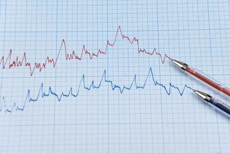 millimeter: Falling stock chart in two colors ,red and blue with two pens made on millimeter paper