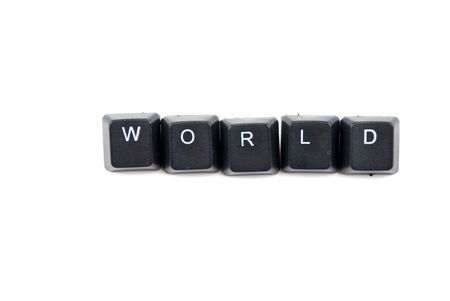 Word world composed with letters of black computer keyboard isolated on white background photo