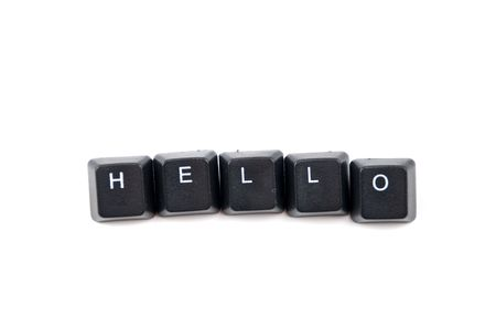 Word hello composed with black letters of computer keyboard isolated on white background,copy space for text message Stock Photo - 5938279