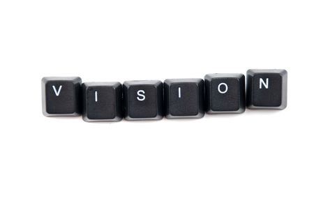Word vision composed with black letters of computer keyboard isolated on white background,copy space for your text message Stock Photo - 5938281