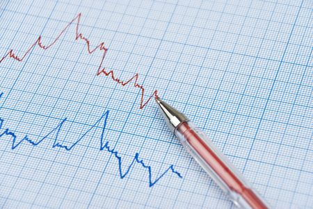 millimeter: Financial graph made on millimeter paper in two colors ,red pen on the top line