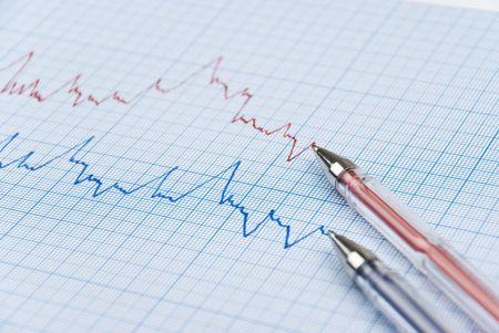 milimetr: Finansowe wykres przedstawia wykres w dwóch kolorów czerwonego i niebieskiego z dwóch pióra na milimetr papieru, selektywne fokus Zdjęcie Seryjne