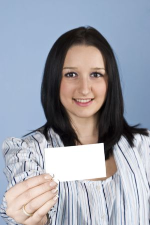 Young businesswoman holding a white blank card,selective focus on card Stock Photo - 6207189
